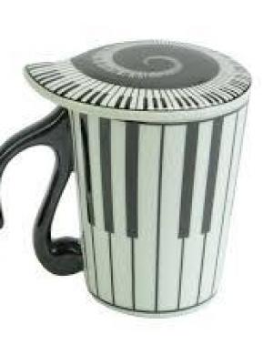 tazza con tastiera piano con coperchio pianoforte a spirale