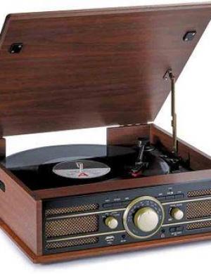 BIGBEN Giradischi Vintage (Td103) Radio Fm Usb,Sd Con 2 Casse Integrate (Legno)